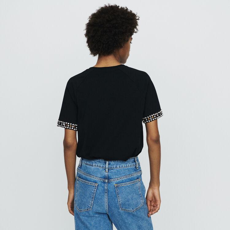 Tee-shirt ricamata a punto ajour : T-Shirts colore NERO