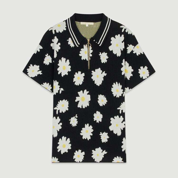 Polo in jacquard  con margherite : Pullover e cardigan colore Jacquard