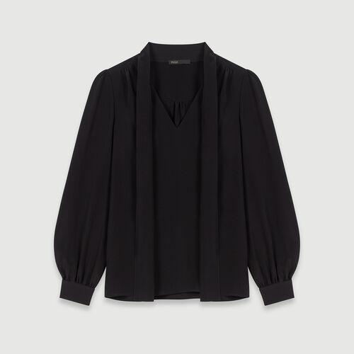 Top in seta con lavalliere : Collezione Inverno colore Nero