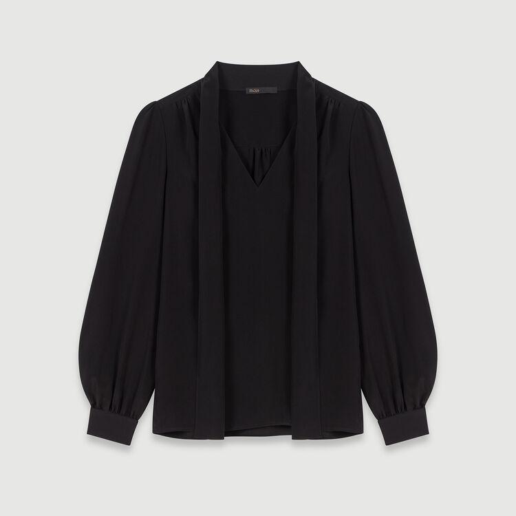 Top in seta con lavalliere : Tops e Camicie colore Nero