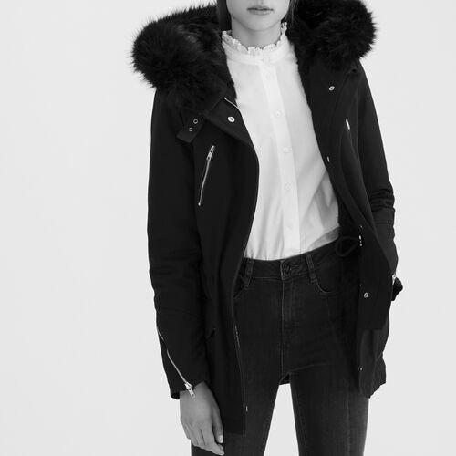 Parka in tela di cotone : Cappotti colore Nero