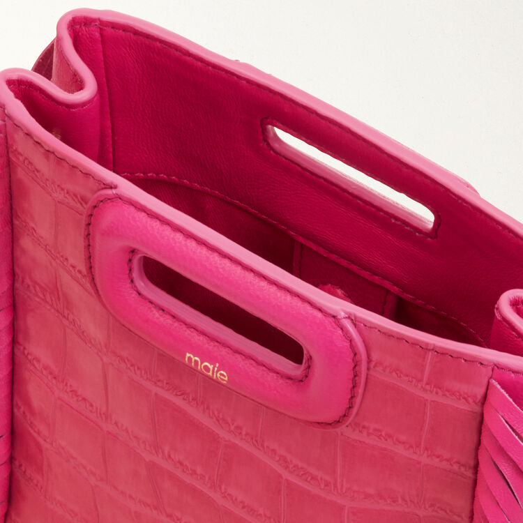 Mini-borsa M in coccodrillo con catena : Pelle colore Rosa