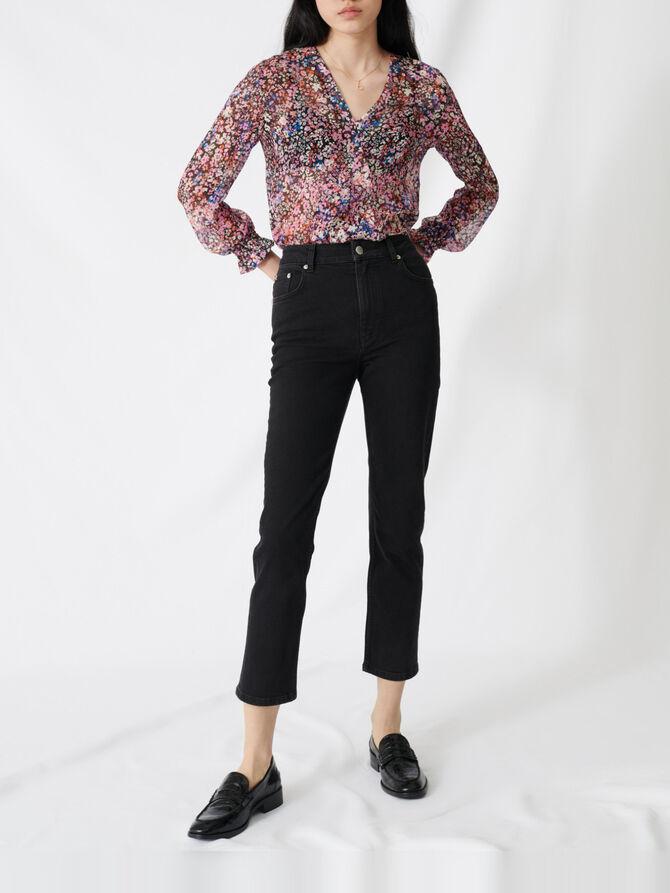 Jeans dritti a vita alta stile mom -  - MAJE