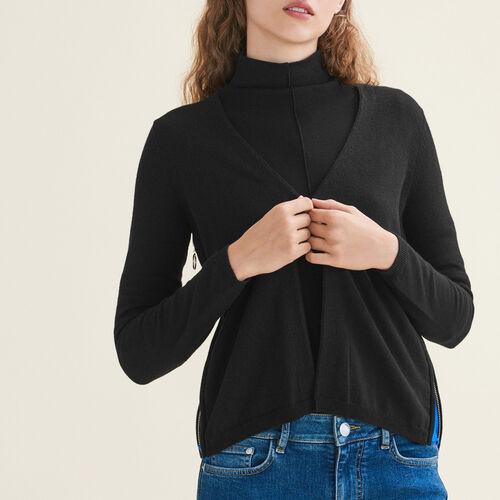 Cardigan con zip laterali : Maglieria colore Nero