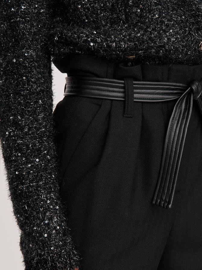 Pantaloni larghi con cintura - More discounts - MAJE