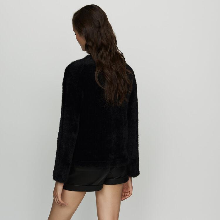 Cardigan in finta pelliccia : Maglieria colore Nero