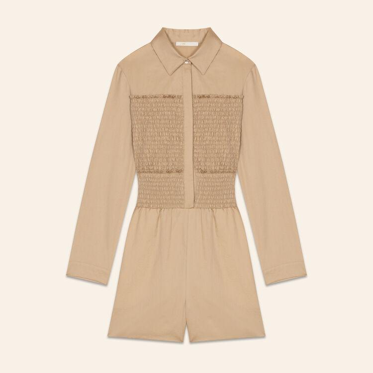 Tuta corta in cotone con ricami smock : Gonne e shorts colore BEIGE SABLE