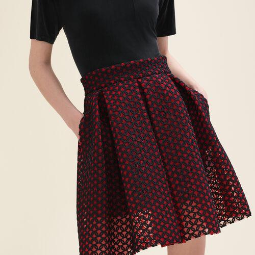Gonna a campana in guipure foderata : Gonne e shorts colore Rosso
