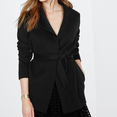 Giacca loose con cintura in lana : Giacche e giubbotti colore Nero