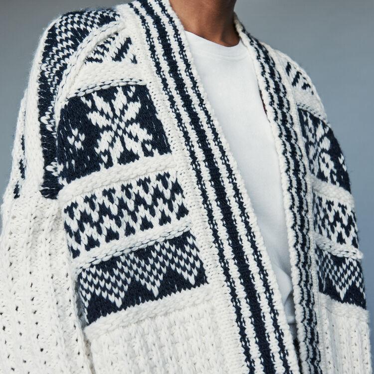 Gilet oversize in maglia jacquard : Maglieria colore ECRU