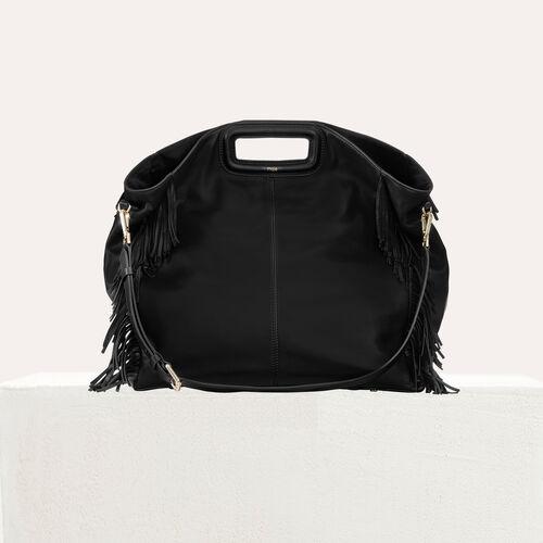 Shopper in pelle con frange : Altre M colore Nero