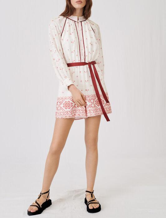 Tuta corta ricamata e con cintura : Jumpsuits colore Rosso