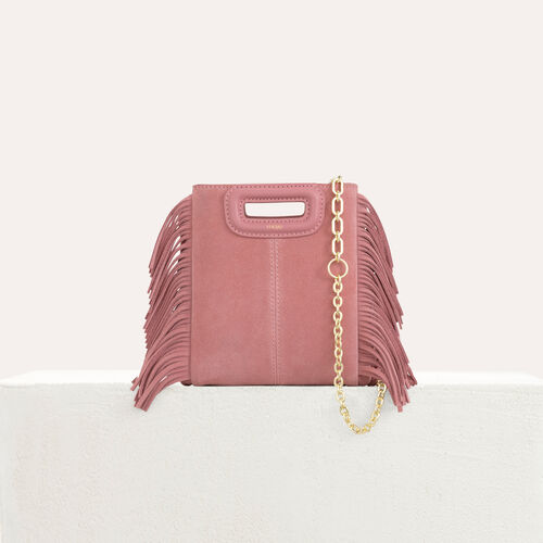 Borsa M Mini in suede con catena : M Mini colore Rosa