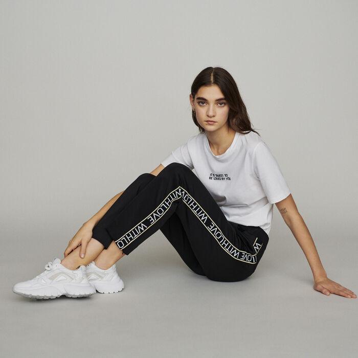 Pantaloni elasticizzati con bande : Pantaloni e Jeans colore Nero