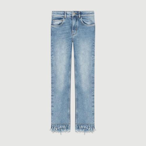 Jeans dritti con orlo sfrangiato : Jeans colore Denim
