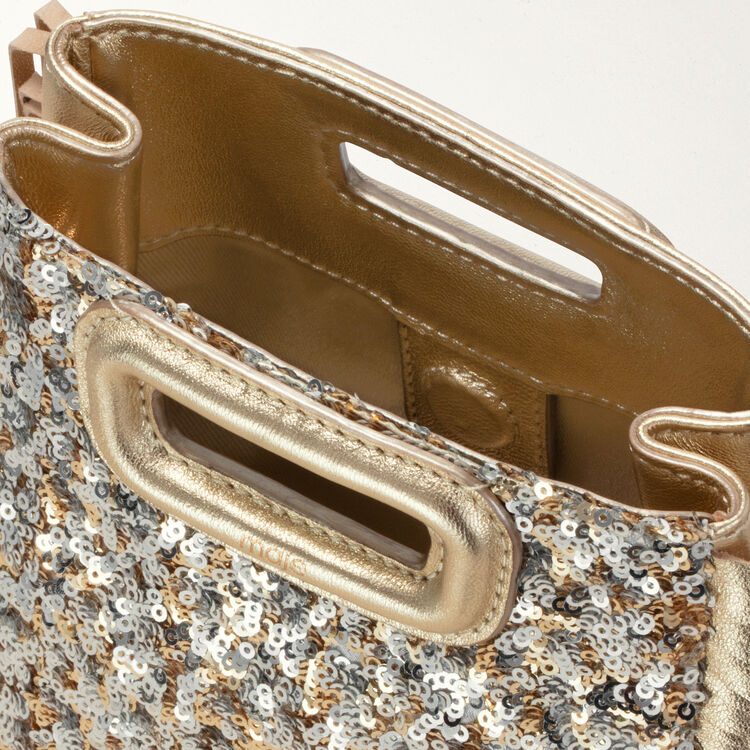 Borsa M Mini in paillettes con catena : M Mini colore Oro