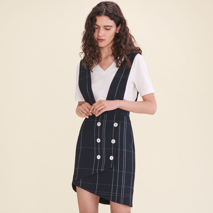Gonna in tartan con bretelle : Gonne e shorts colore Blu Marino