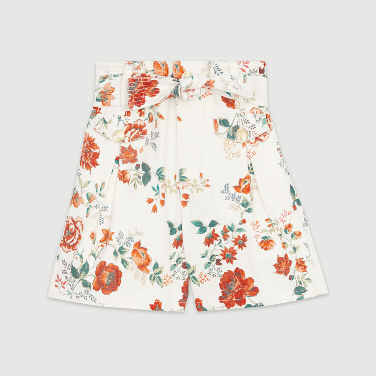 Short in jeans con stampa floreale : Gonne e shorts colore IMPRIME