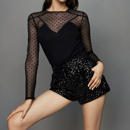 Short con strass : Gonne e shorts colore Nero
