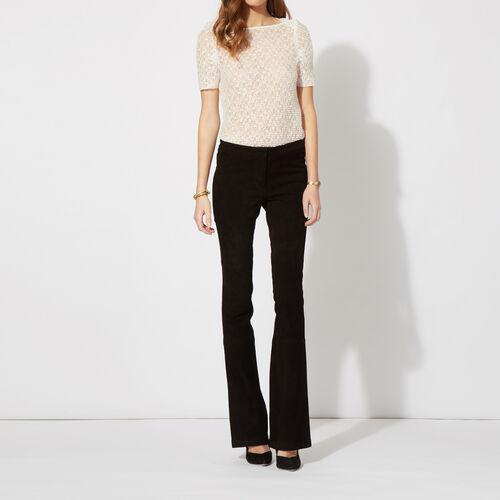 Pantalone a zampa in pelle scamosciata : Pantaloni & jeans colore Nero