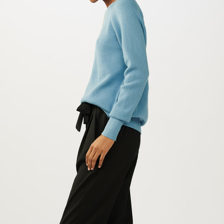 Pull con scollatura sulla schiena : Maglieria colore Ceruleo