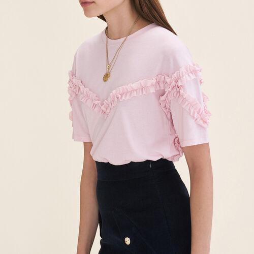 T-shirt con dettaglio a volant : T-shirts colore Rosa
