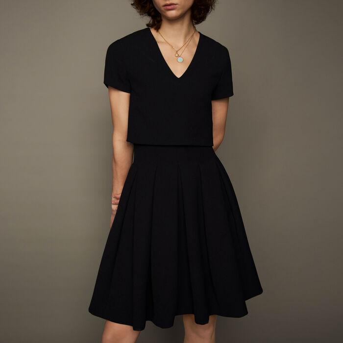 Vestito a corolla effetto trompe-l'œil : Vestiti colore Nero