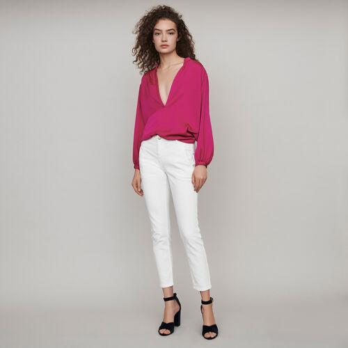 Jeans dritti con tasche e intagli : Collezione Inverno colore Bianco