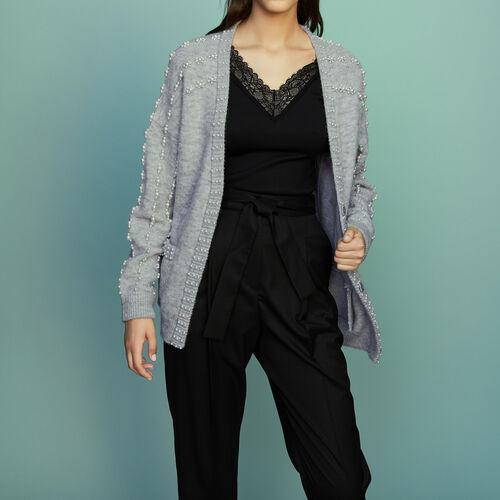 Cardigan lungo in maglia con perle : Prêt-à-porter colore Grigio