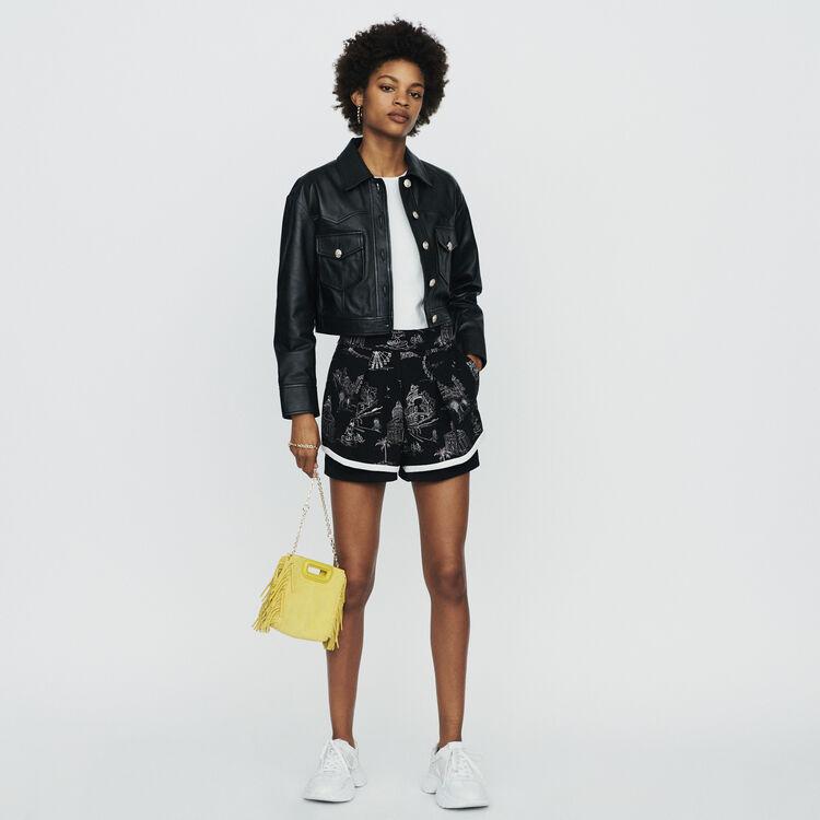 Giacca corta in pelle : Cappotti e Giubbotti colore Nero