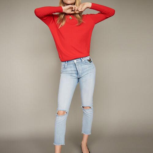 Jeans corti con dettagli effetto usato : Pantaloni & jeans colore Denim