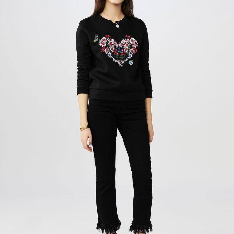 Felpa con ricamo a cuore : T-Shirts colore Nero