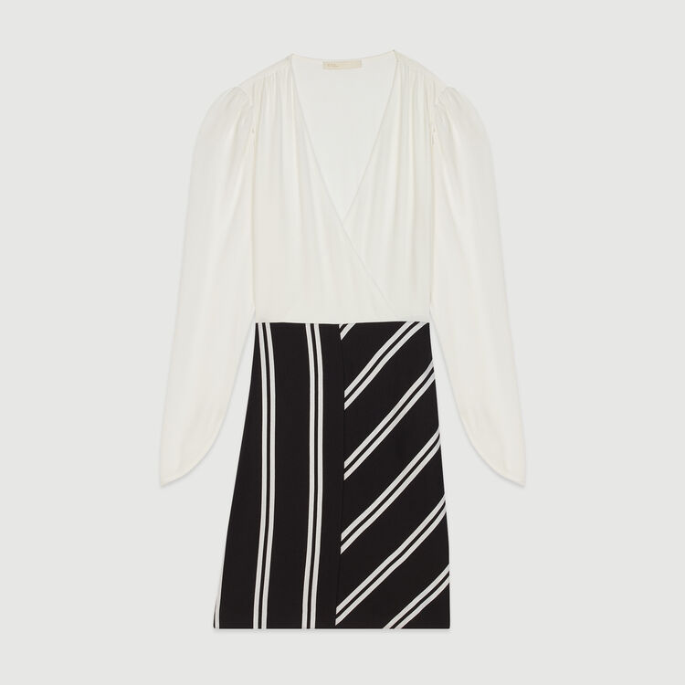Vestito dritto bimateriale : Vestiti colore Bianco Sporco