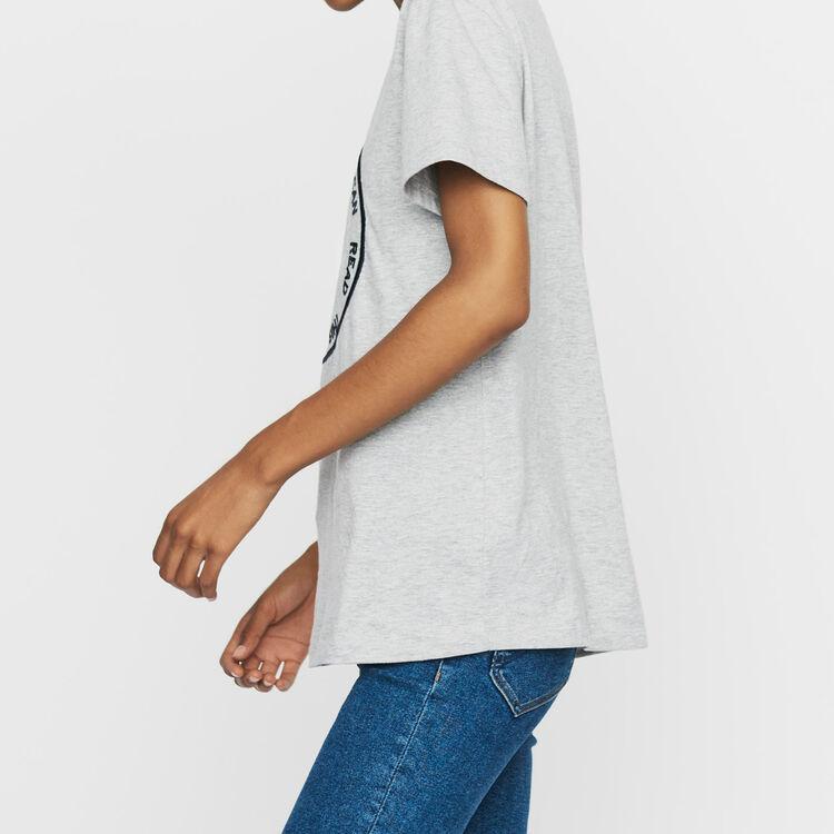Tee-shirt in cotone con ricamo : T-Shirts colore Grigio