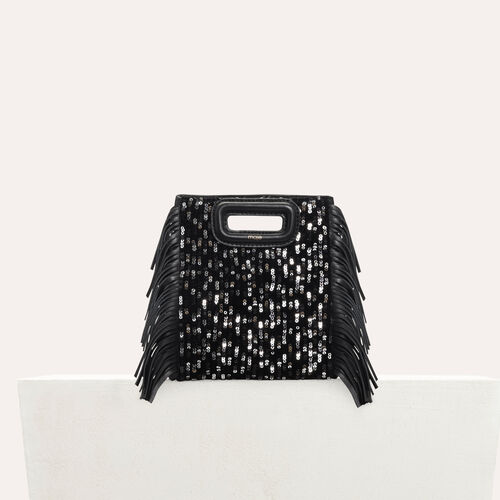 Mini-borsa M in pelle e paillettes : M Mini colore Nero