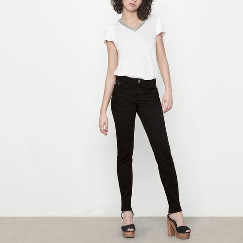 Jeans vita alta con ricami : Pantaloni & jeans colore Nero