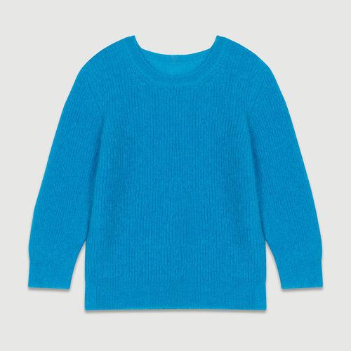 Maglia corta in mohair : Maglieria colore Blu