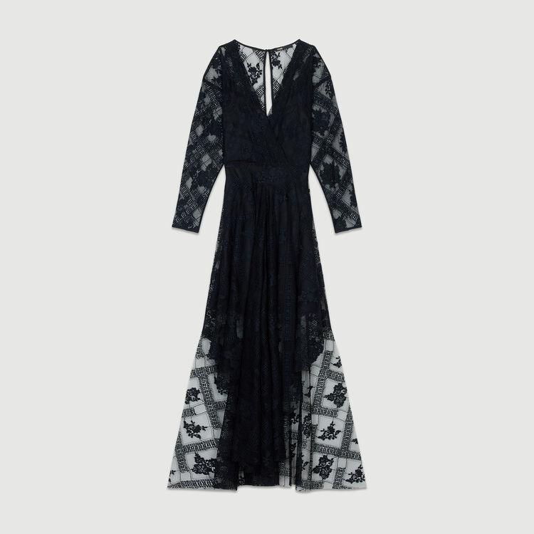 Vestito foulard con maniche lunghe : Vestiti colore Nero