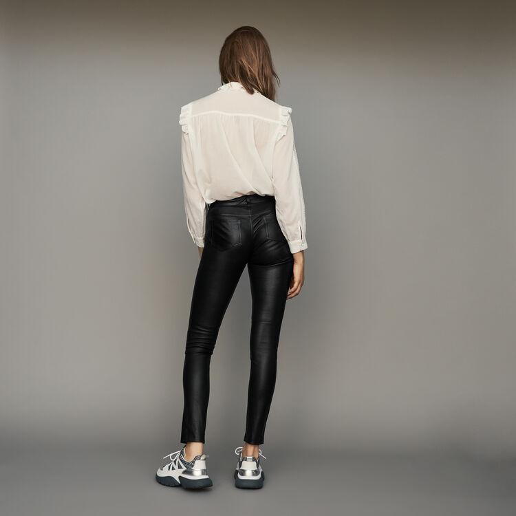 Pantalone a sigaretta in pelle d'agnello : Pantaloni colore Nero
