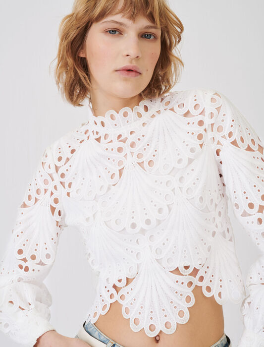 Top in guipure : T-Shirts colore Bianco
