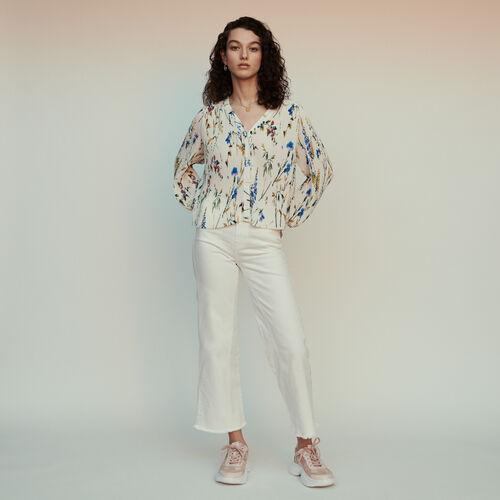 Top plissettato gioiello con stampa : Tops e Camicie colore IMPRIME