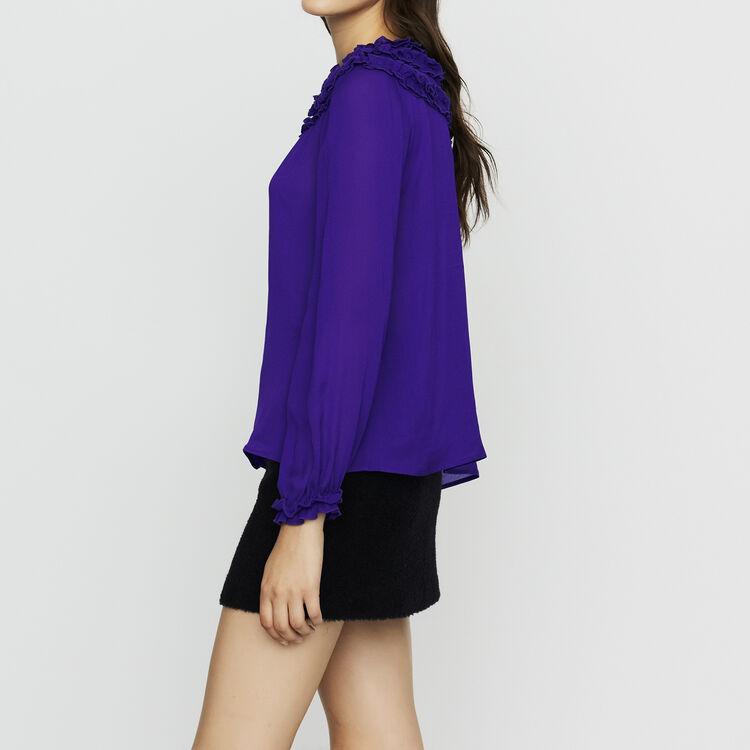 Top in crêpe con volant : Tops colore Violetto