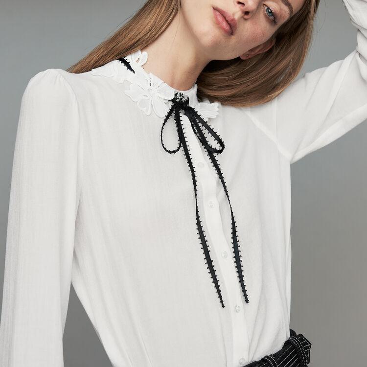 Camicetta con dettagli in guipure : Camicie colore Bianco