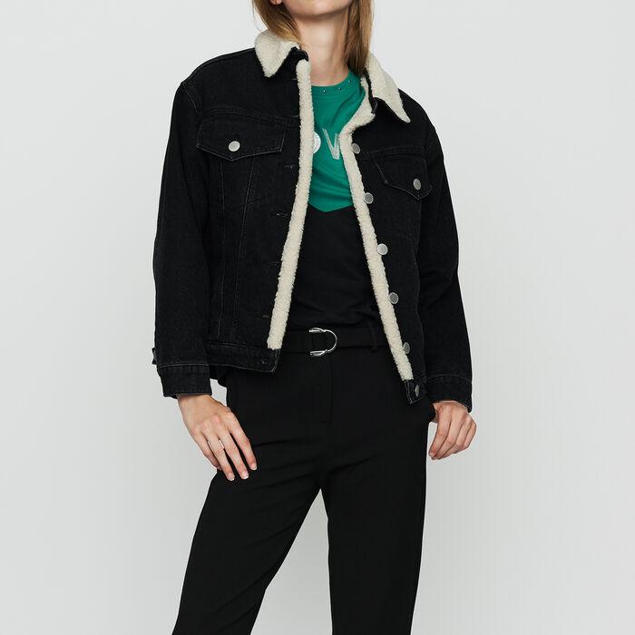 Giacca di jeans con dettagli : Giubbotti colore Nero