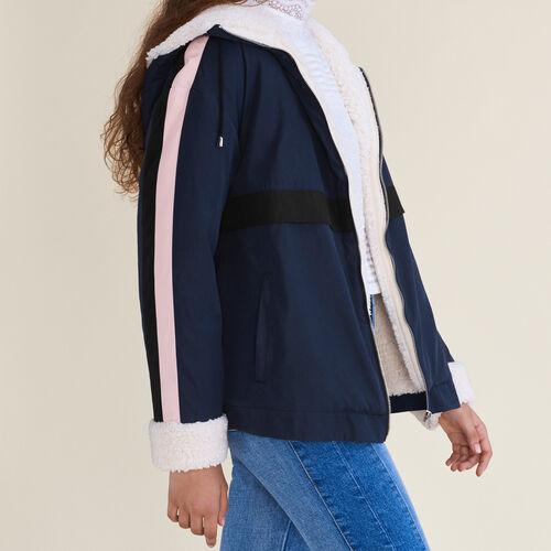 Parka corto bicolore : Cappotti colore Blu Marino