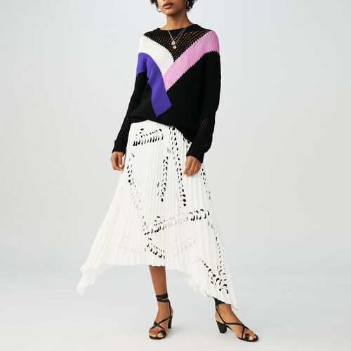 Black jumper with geometric pink : Maglieria colore Nero