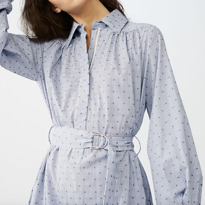 Scamiciato a righe ricamate : Vestiti colore Blu