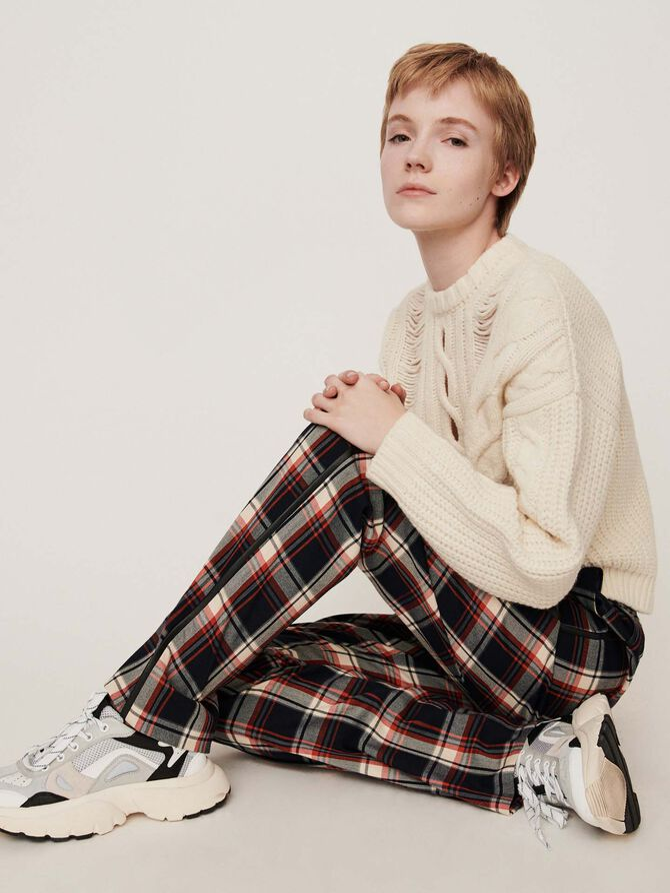 Elasticated plaid pants - Pantaloni e Jeans - MAJE