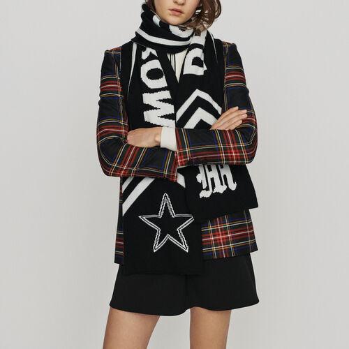 Sciarpa con scritte a contrasto : Scialli & Poncho colore Nero