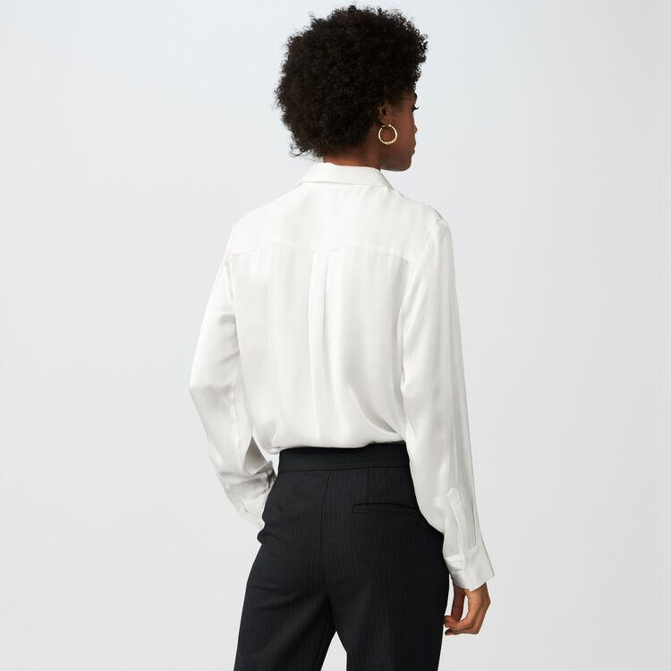 Camicia in satin di seta : Campagna FW19 colore Bianco
